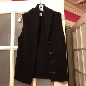 J Crew Black Wool Vest w/ Brown Buttons Size S